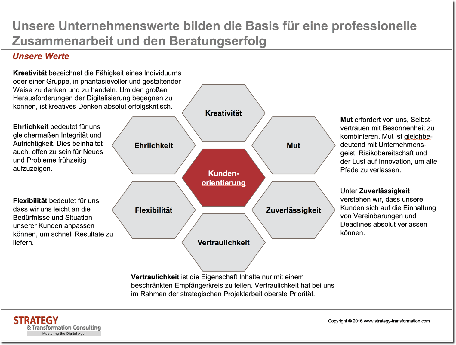 Unsere Werte - Strategy & Transformation Consulting