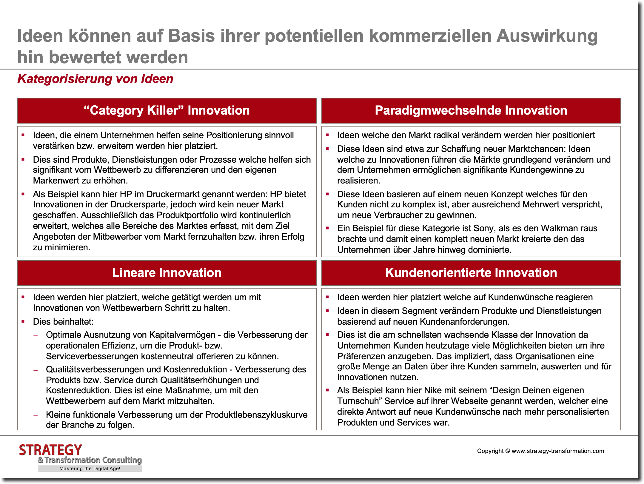 Innovationsmanagement_Kategorisierung von Ideen