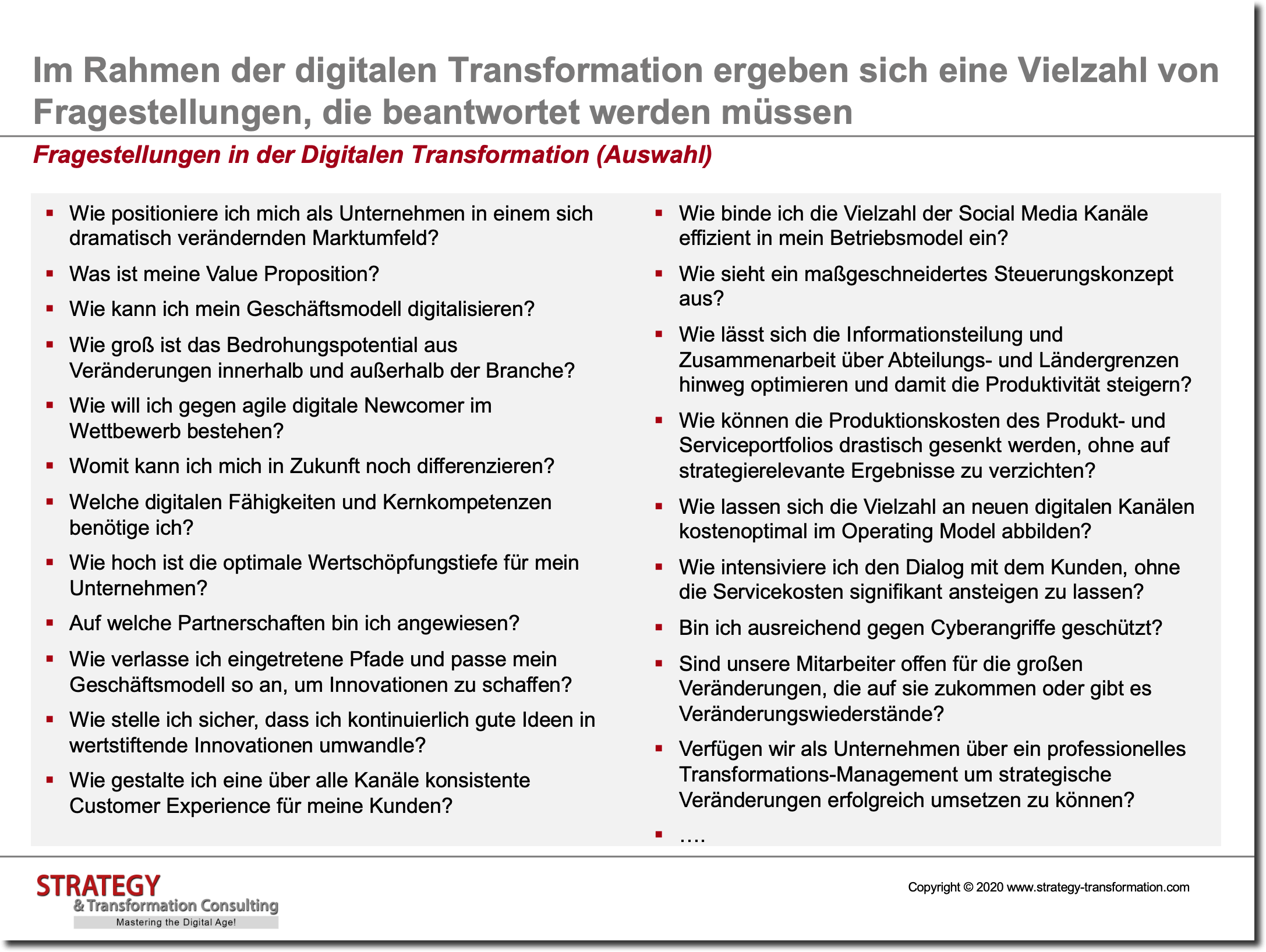 Fragestellungen in der Digitalen Transformation