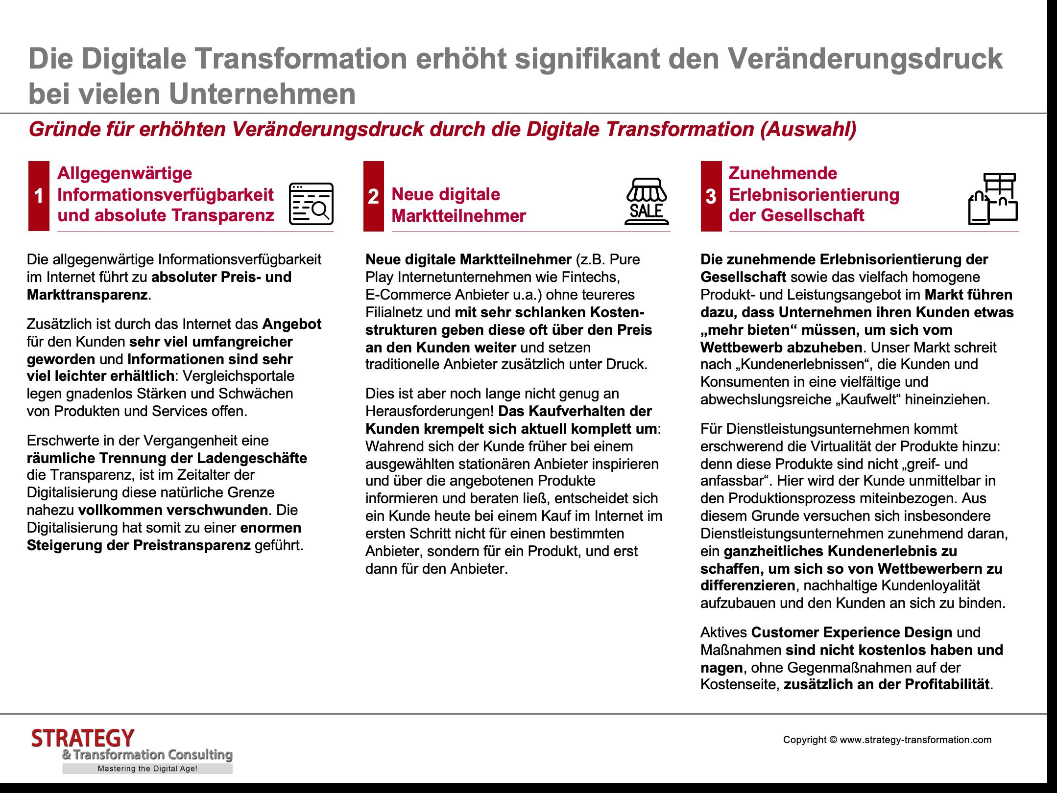 Gründe für erhöhten Veränderungsdruck durch die Digitale Transformation (Auswahl)